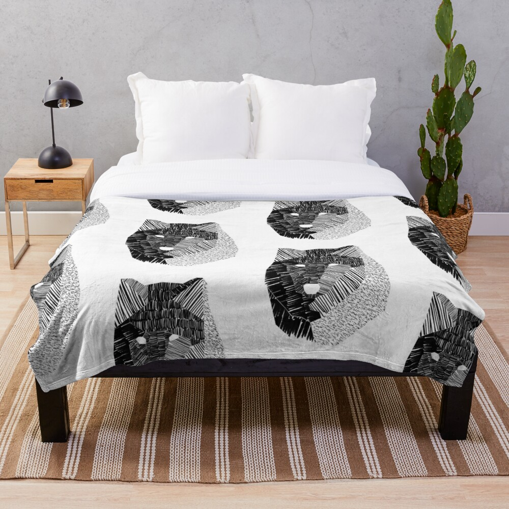Wolf Mask Throw Blanket