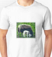 Sheep and lamb grazing cartoon Unisex T-Shirt