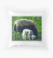 Sheep and lamb grazing cartoon Throw Pillow