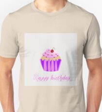 Cupcake with Happy birthday text Unisex T-Shirt