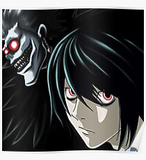 Ryuk and L from the Anime/Manga TV show Death Note: Original Digital Painting Poster