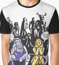Dark Elf and Wood Elf waiting for Boss to Spawn; Everquest/WoW MMORPG funny Comic Hand-Drawn Illustration  Graphic T-Shirt