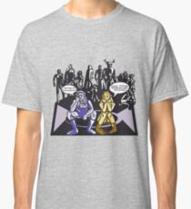 Dark Elf and Wood Elf waiting for Boss to Spawn; Everquest/WoW MMORPG funny Comic Hand-Drawn Illustration  Classic T-Shirt