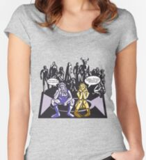 Dark Elf and Wood Elf waiting for Boss to Spawn; Everquest/WoW MMORPG funny Comic Hand-Drawn Illustration  Women's Fitted Scoop T-Shirt