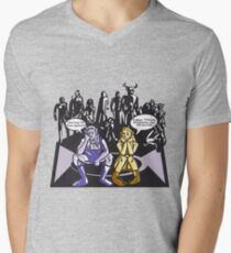 Dark Elf and Wood Elf waiting for Boss to Spawn; Everquest/WoW MMORPG funny Comic Hand-Drawn Illustration  Mens V-Neck T-Shirt