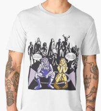 Dark Elf and Wood Elf waiting for Boss to Spawn; Everquest/WoW MMORPG funny Comic Hand-Drawn Illustration  Men's Premium T-Shirt