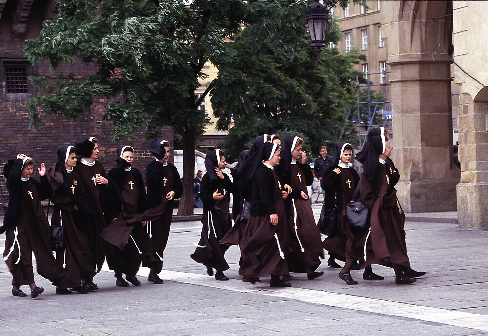 Nuns on the March Facing the Wind! by kitlew