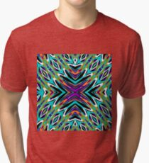 psychedelic geometric graffiti abstract pattern in green blue purple orange Tri-blend T-Shirt