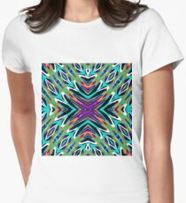 psychedelic geometric graffiti abstract pattern in green blue purple orange Womens Fitted T-Shirt