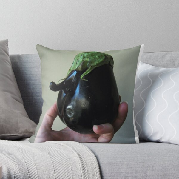Of Veggie Weenies - Eggplant Throw Pillow