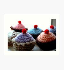 Knitted Cakes  Art Print