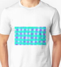 plaid pattern graffiti painting abstract in blue green and pink Unisex T-Shirt