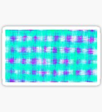 plaid pattern graffiti painting abstract in blue green and pink Sticker