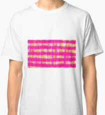 plaid pattern graffiti painting abstract in pink and yellow Classic T-Shirt