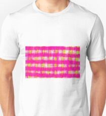 plaid pattern graffiti painting abstract in pink and yellow Unisex T-Shirt