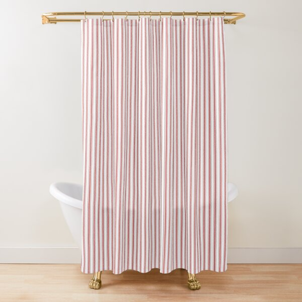 Mattress Ticking Narrow Striped Pattern in Red and White Shower Curtain