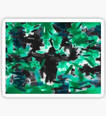 psychedelic vintage camouflage painting texture abstract in green and black Sticker