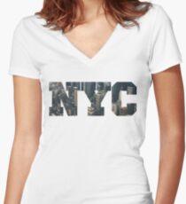 NYC New York City Letter Lanscape Women's Fitted V-Neck T-Shirt
