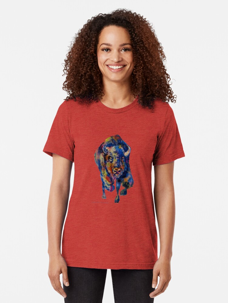 Alternate view of Charging Buffalo Watercolor Print Tri-blend T-Shirt