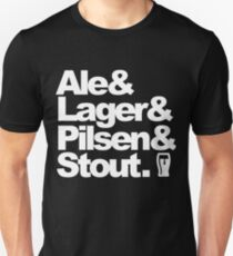 Ale and Lager and Pilsen and Stout - white T-Shirt