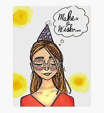Make A Wish- Watercolor Girl Photographic Print