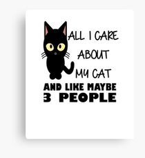 All I Care About My Cat & Like Maybe 3 People Canvas Print
