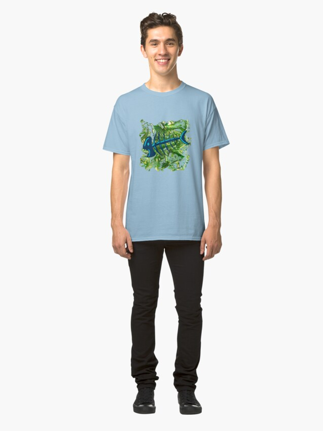 Alternate view of FISH SKELETON SWIRLING SEAS Classic T-Shirt