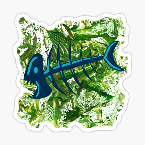 FISH SKELETON SWIRLING SEAS Sticker