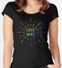 LOVE WINS GAY PRIDE  Women's Fitted Scoop T-Shirt