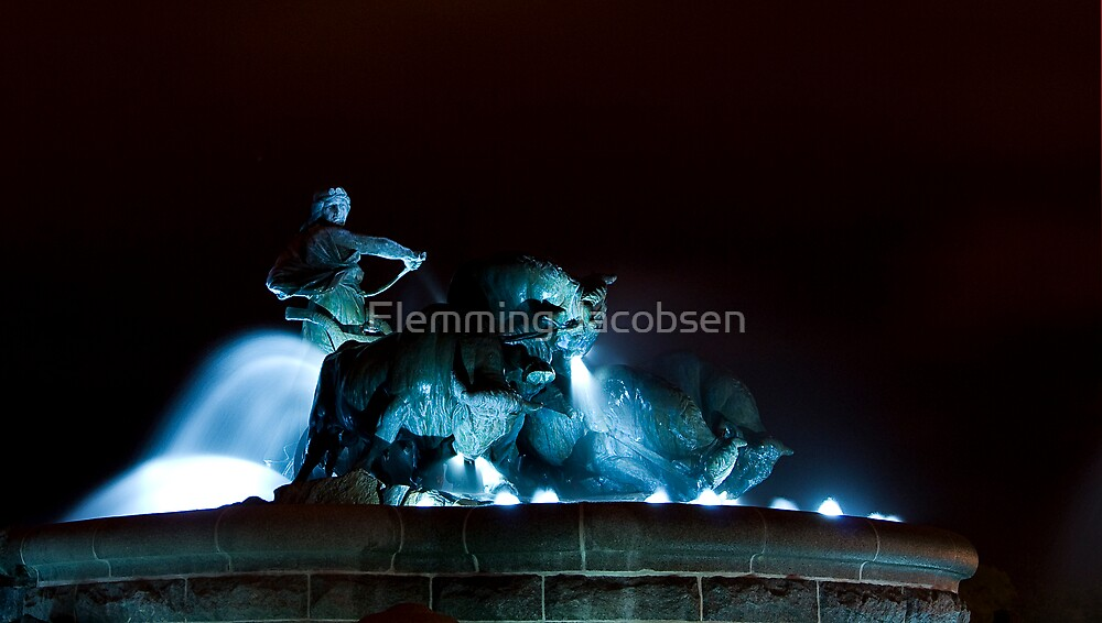 Gefion fountain by night, Copenhagen centre by Flemming Jacobsen