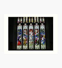 Stained Glass, Hawkshead Church Art Print
