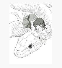 Monochrome Nadeko with snake Photographic Print