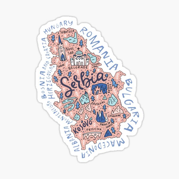 Map of Serbia Sticker