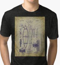 1929 Canoe Construction Patent Art Tri-blend T-Shirt