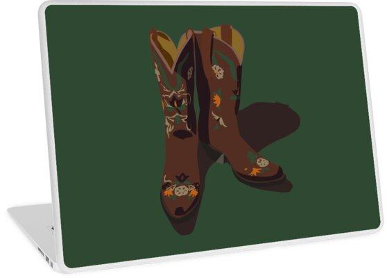 Vinilos para portátiles «Botas vaqueras de cuero marrón con diseños ... b533c07a6d519