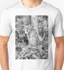 Eurasian Lynx (Wild Cat) in a winter snowstorm Unisex T-Shirt