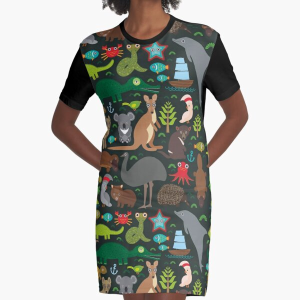 Funny australian animals Echidna Platypus ostrich Emu Tasmanian devil Cockatoo parrot Wombat snake turtle crocodile kangaroo dingo octopus fish. Seamless pattern on dark background. Graphic T-Shirt Dress