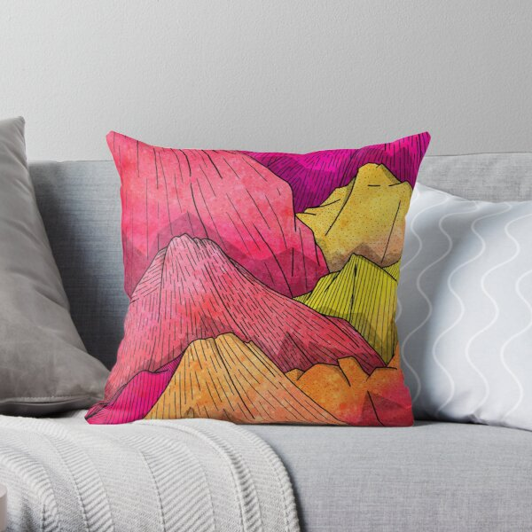 Heat Wave Mountains Throw Pillow