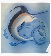 Blue Marlin Deep Sea Wild Game Fish Painting Poster