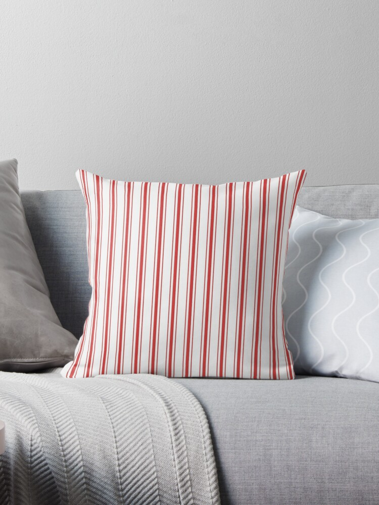 Mattress Ticking Wide Striped Pattern in Red and White by podartist