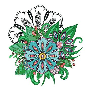 flowers and leaf doodle elements by genevskayamariy