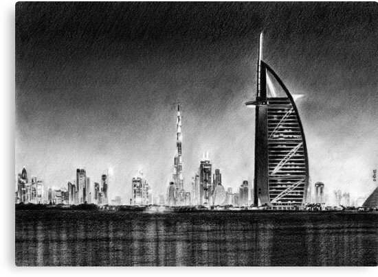 Dubai cityscape drawing by daverives