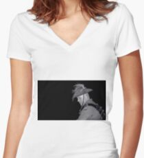 Contemplating Past Sacrifices Women's Fitted V-Neck T-Shirt
