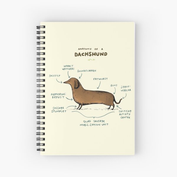 Anatomy of a Dachshund Spiral Notebook