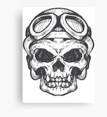 Skull helmet black Canvas Print