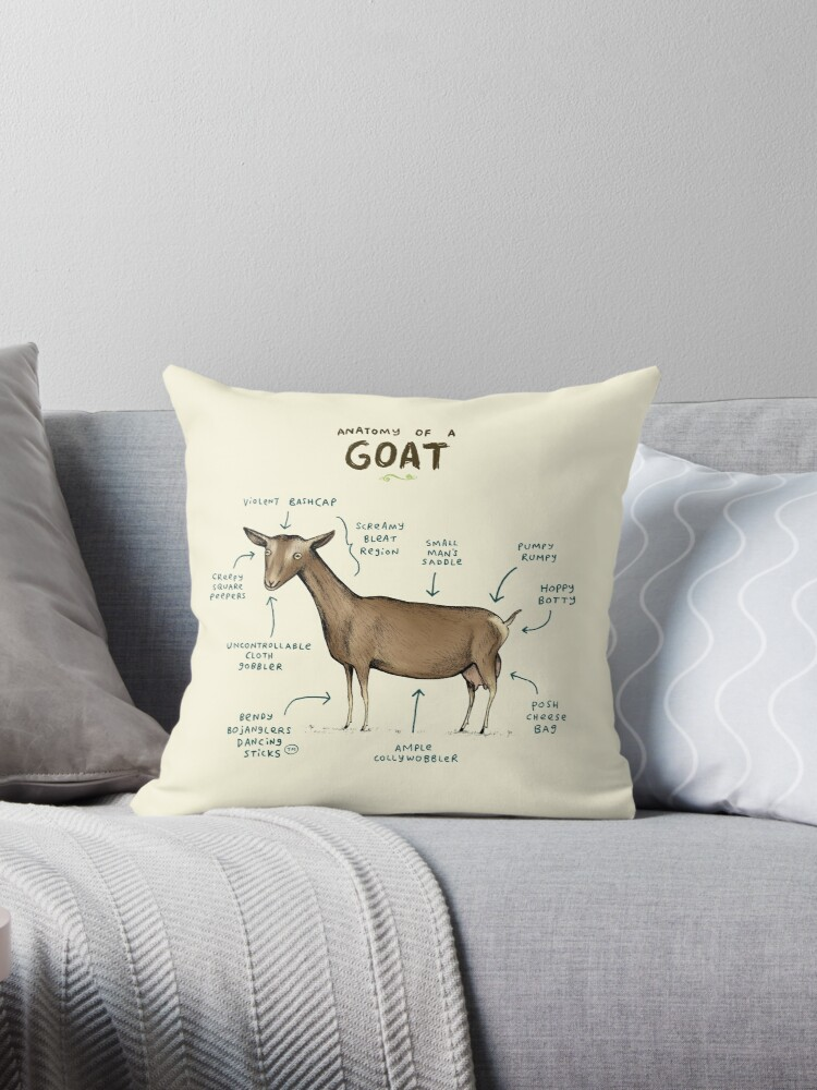 Anatomy Of A Goat Throw Pillows By Sophie Corrigan Redbubble