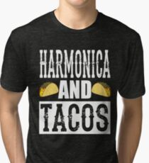 Harmonica and Tacos Funny Taco Band Tri-blend T-Shirt
