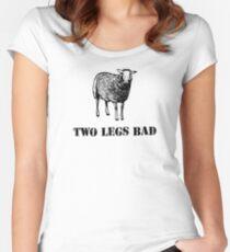 Zwei Beine schlechte Schafe Tailliertes Rundhals-Shirt