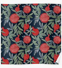 Red pomegranates on indigo Poster