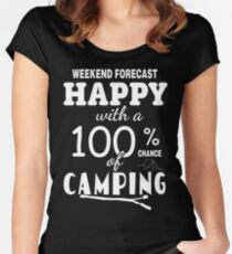 Happy with a 100% chance of Camping Women's Fitted Scoop T-Shirt